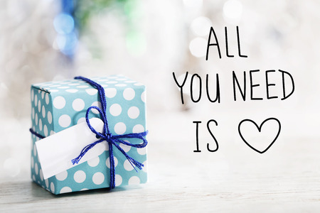 All You Need Is Love message with small handmade gift box