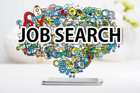 desk work: Job Search concept with smartphone on white table Stock Photo
