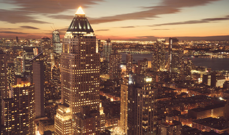ny: Midtown Manhattan New York skyline at night Stock Photo