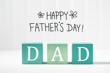 Fathers Day message on green wooden blocks