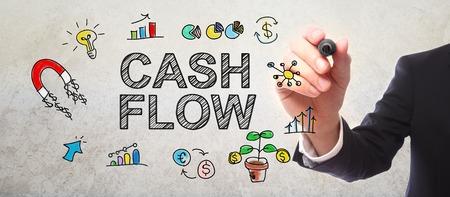 cash: de plano el concepto de flujo de efectivo con un marcador empresario Foto de archivo