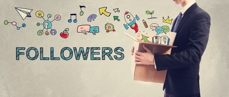 followers: Followers concept with Businessman holding a cardboard box