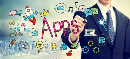 above: Apps concept with businessman above the city Stock Photo