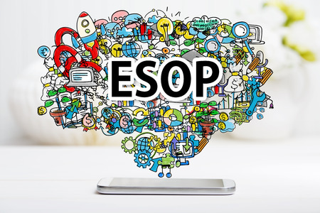 company ownership: ESOP concept with smartphone on white table Stock Photo