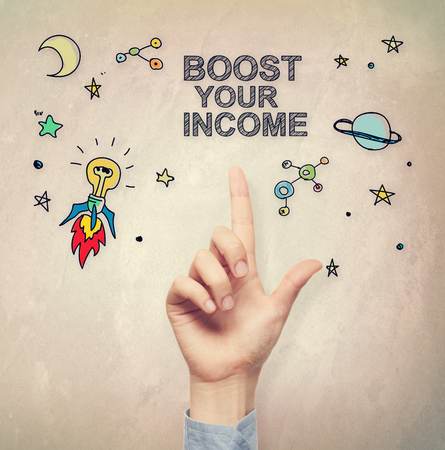 filtered: Hand pointing to Boost Your Income concept on light brown wall background