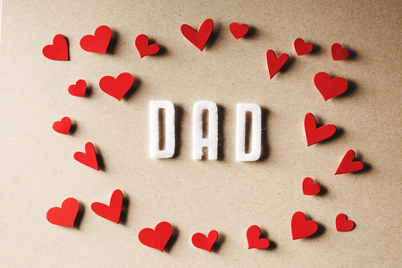 small paper: Felt Dad text with small paper red hearts
