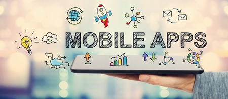 mobile app: Mobile Apps concept with man holding a tablet computer