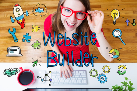 Website Builder concept with young woman wearing red glasses in her home office