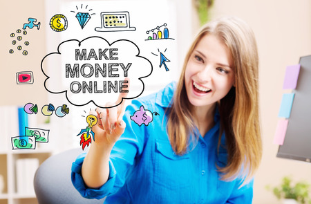 money online: Make Money Online concept with young woman in her home office Stock Photo