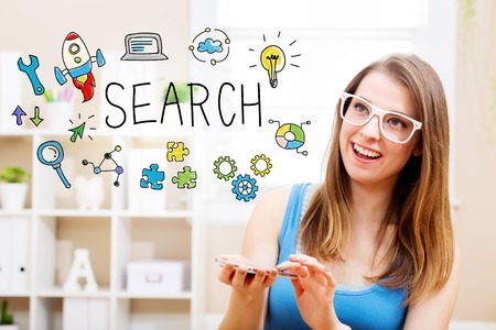 Search concept with young woman wearing white glasses using her smartphone in her home