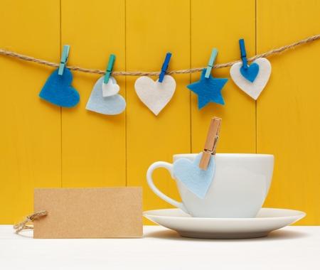 blank tag: Blank tag with felt hearts and coffee mug