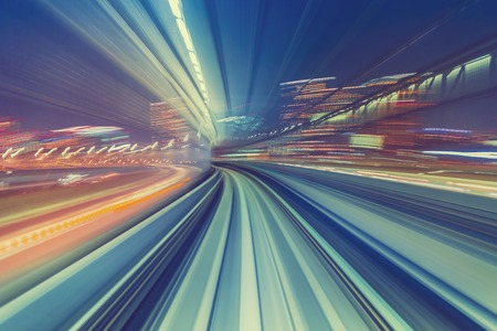 Abstract high speed technology POV motion blurred concept image from the Yuikamome monorail in Tokyo Japan 版權商用圖片