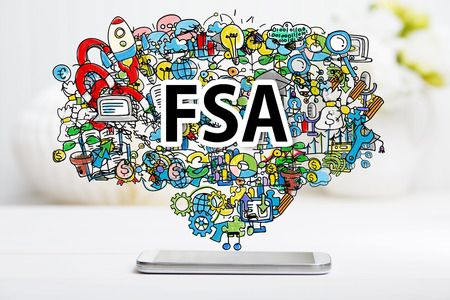 flexible business: FSA concept with smartphone on white table