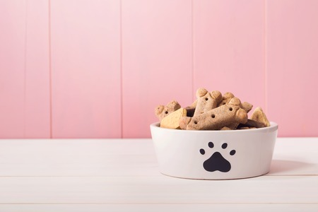 biscuits: Dog food in a bowl filled with treats on wooden table