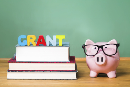 Educational grant theme with pink piggy bank on top of books with chalkboard in the background as concept image of the costs of education
