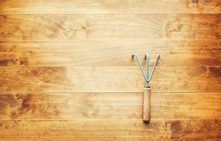 cultivator: Cultivator garden tool on a rustic wooden table Stock Photo