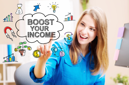 your point: Boost your Income concept with young woman in her home office Stock Photo