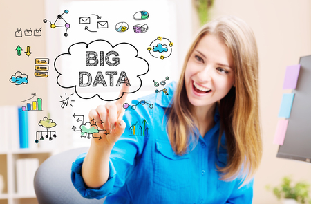 big woman: Big Data concept with young woman in her home office Stock Photo
