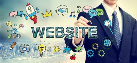 colourful sky:  Businessman drawing Website concept above the city
