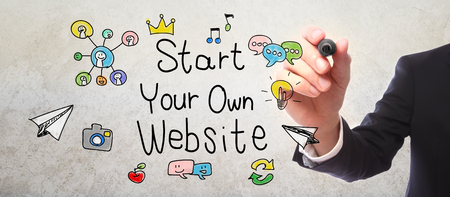 own: Businessman drawing Start Your Own Website concept with a marker