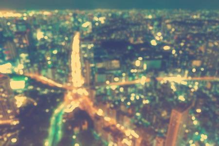 urban scene: Aerial blurred urban background scene at night