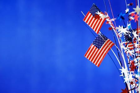 アメリカ独立記念日の装飾ブルー背景 7 月 4 日 写真素材