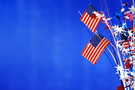 4th of July American Independence Day decorations on blue background Stock Photo