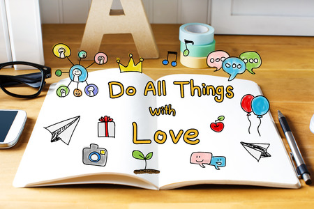 things to do: Do All Things with Love concept with notebook on wooden desk  Stock Photo