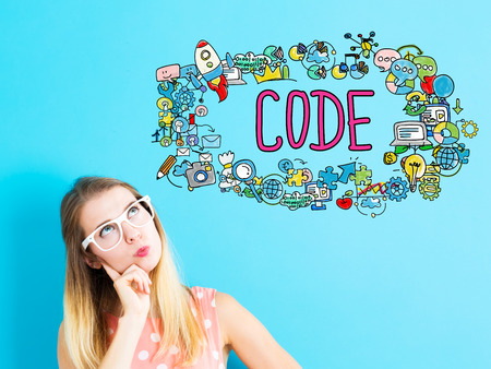 Code concept with young woman on blue background