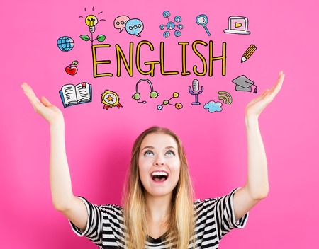 Engels concept met jonge vrouw te bereiken en op zoek naar boven