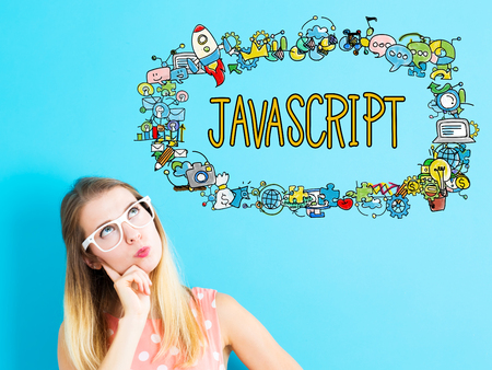 JavaScript concept with young woman on blue background