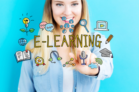 courses: E-Learning concept with young woman on blue background Stock Photo