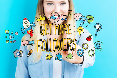 followers: Get More Followers concept with young woman on blue background Stock Photo