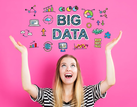 communication concept: Big Data concept with young woman reaching and looking upwards