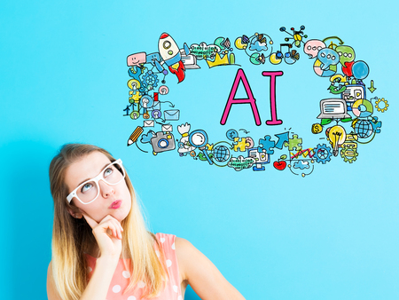 青の背景に若い女性と AI のコンセプト