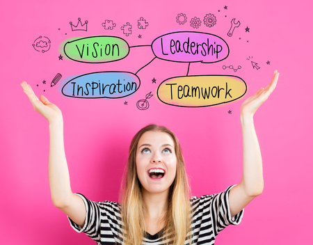 looking upwards: Leadership concept with young woman reaching and looking upwards Stock Photo