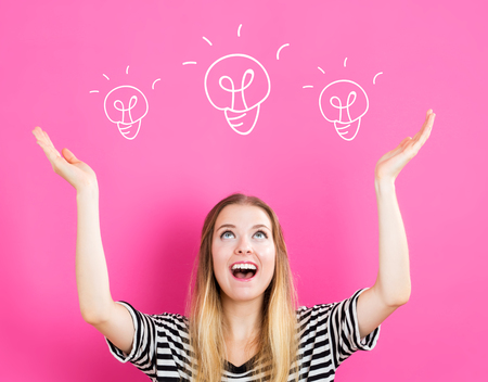 Light Bulb illustration with young woman reaching and looking upwards