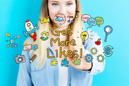 likes: Get More Likes concept with young woman on blue background