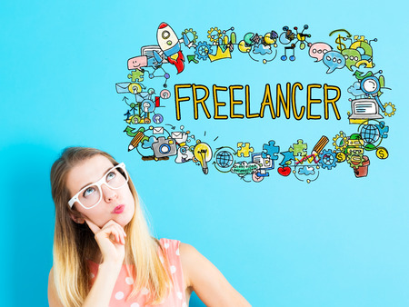 thoughtful: Freelancer concept with young woman in a thoughtful pose