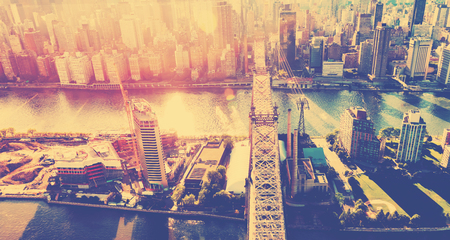 ed: Aerial view of the Ed Koch Queensboro Bridge over the East River in New York City