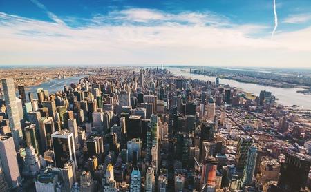 ニューヨークのミッドタウンから南を見ての航空写真 写真素材