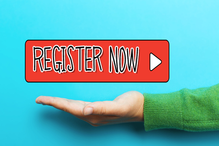 Register Now concept with hand on blue background