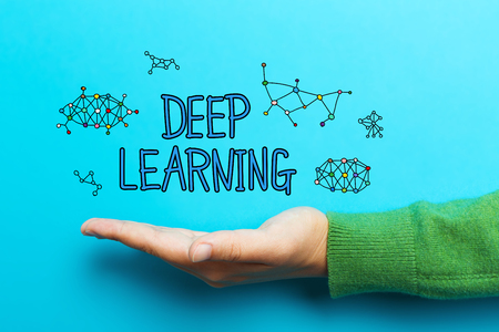 Deep Learning concept with hand on blue background