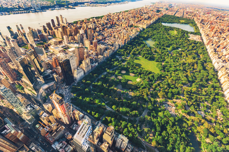 aerial view city: Aerial view of Manhattan New York looking north up Central Park