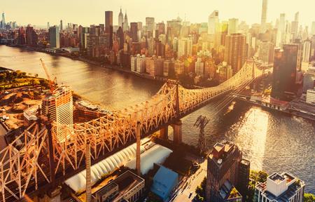 queensboro bridge: Aerial view of the Ed Koch Queensboro Bridge over the East River in New York City