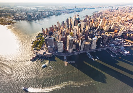 Aerial view of lower Manhattan New York City and the Hudson River