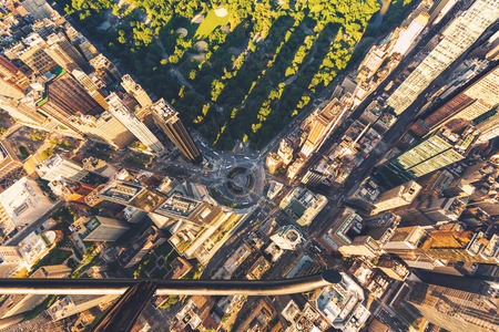 Helicopter view of Columbus Circle and Central Park in New York City at sunset