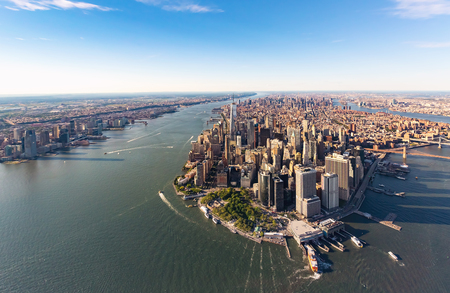 hudson: Aerial view of lower Manhattan New York City and the Hudson River