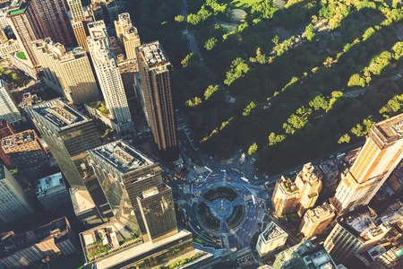 columbus: Aerial view of Columbus Circle and Central Park in New York CIty at sunset Stock Photo