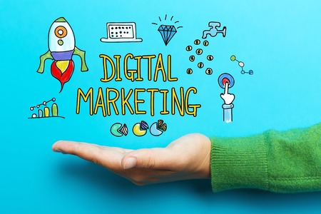 Digital Marketing concept with hand on blue background